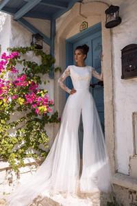 2020 Boho Beach Modest Long Sleeve Jumpsuits Wedding Dress With Detachable Train Lace Bohemian Wedding Dress Bridal Gowns Vestido De Noiva