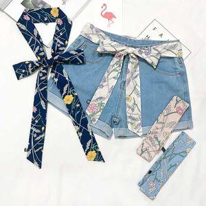 Women small long scarf printed Chiffon scarfs for women belt neck infinity japanese scarf ladies neckerchief silk scarves long