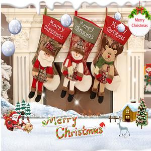 Décoration de Noël Père Noël Décorations De Noël Navidad Stocking sac cadeau bonhomme de neige renne Décor de Noël Natale Décorations d'arbre