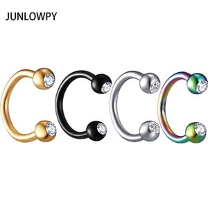 JUNLOWPY Anodized Nose Rings Surgical Steel Body Jewelry Crystal Sexy Piercing Hoop horseshoe Daith Tragus Earring Women Men T200508