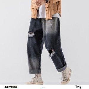 ExtFination   Man Straight Hole Casual Wide Leg Jeans Mans 2020 Summer Fashion Hip Hop Denim Harem Pants Male Vintage Jeans 5XL