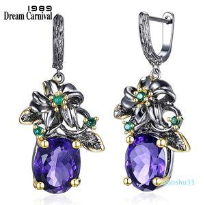 luxury- 1989 Elegant Vintage Drop Earrings Flower Look Big Blue Cz Gun Black Plus Gold Color Base Everyday Jewelery We3799 Y19050901