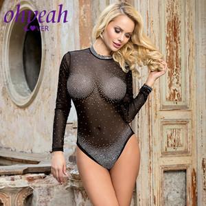 Ohyeahlover à manches longues femmes Bodysuit perspective d'été Tenues Femmes Sexy Romper Party Corps Clubwear Sexy Ladies RM80917
