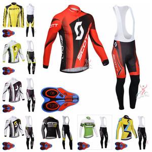 SCOTT 팀 남성 자전거 긴 소매 저지 9D 턱받이 바지 세트 통기성 자전거 프로 팀 야외 스포츠웨어 로파 Ciclismo S080707