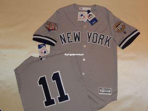 Ucuz beyzbol NY # 11 BRETT GARDNER 2009 En gömlek Jersey GRİ Yeni Erkek Satılık formaları büyük ve uzun SIZE XS-6XL dikişli