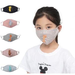 Crianças máscaras de protecção Rapazes Meninas dos desenhos animados Boca 7-15 anos de idade Crianças Anti-poeira respirável Earloop lavável reutilizáveis Rosto Algodão Máscaras