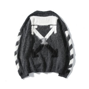 2019 street fashion brand OW gradient color mohair knitted round collar pullover sweater