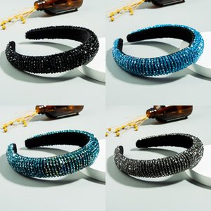 Bandas para la cabeza del aro del Rhinestone del envío de DHL del estilo del occidente color de pelo grueso esponja Cinta de cabeza para las mujeres Joyería Accesorios para el cabello X464FZ