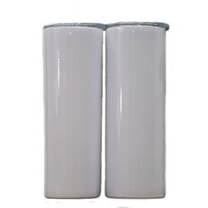 20 oz sublimación recta Transferencia flaco vaso de pared doble de acero inoxidable de bricolaje bebidas térmico de la taza taza del coche con tapa A09