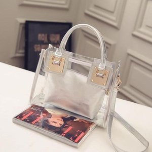 Summer Clear Bag Девушка 2020 Новый Fashion Street Single Простой дизайн Clear Shoulder Bag Slant Блестки Star сумка