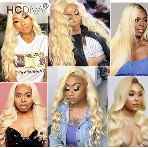 613 Blonde perruques de cheveux humains 13 * 1 profond Moyen Partie Front Wigs Lace Vierge Corps droit brésilien vague profonde Curl Kinky droite 150% Densité