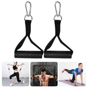2pcs élastique Bande de résistance Poignées force musculaire exercice d'entraînement Sport Tirer la corde avec mousquetons Yoga Pilates Workout Gym