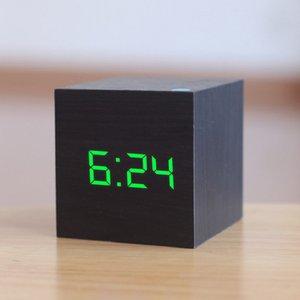 60*60*60mm LED Wooden Alarm Clock Watch Table Voice Control Digital Wood Despertador Electronic USB AAA Powered Clocks Decor