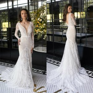 2020 Mermaid Wedding Dresses V Neck Long Sleeve Applique Lace Bridal Gowns Custom Made Backless Sweep Train Wedding Dress robes de mariée