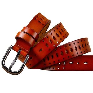 Fashion Hollow genuine leather belts for women Quality Pin buckle belt woman Cow skin waist strap female for jeans width 2.8 cm