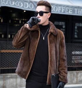 Brasão Mens Zipper Faux Fur Long Sleeve lapela Neck Brown Inverno Quente Brasão Masculino solto jaqueta de cor sólida