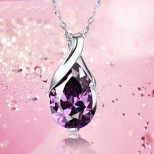 2018 Novo Design, Anjo Lágrimas Amythest roxo pingente colar de cristal, prata esterlina 925 em 3 de Camada platinadas, Top Quality Jewelry