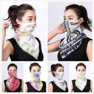 Women Scarf Face Mask Silk Chiffon Handkerchief Outdoor Windproof Half Face Dust-proof Sunshade Masks Scarf Dust Mask Party Masks Wholesale