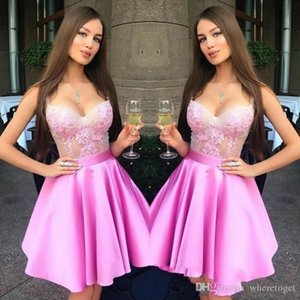 2020 Hot Pink Sweetheart Neck Mini Short Homecoming Dresses Lace Zipper Back Sweet 16 Graduation Dresses Knee Length Party Dresses