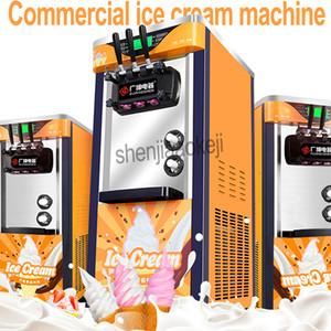 De tres colores de escritorio comercial de hielo suave crema máquina 220V / 100vvertical hacer helado edulcorante inteligente máquina para hacer helados 1pc