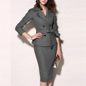 Terno 2 Pieces Set ternos formais das mulheres das mulheres Sexy Bainha Mini vestido do desgaste Jacket Casual Brasão Escritório Jacket Vestido Define Blazer