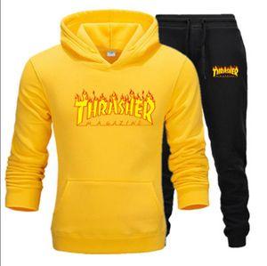 Mens Tracksuits Sports Suit New Arrival Men Warm Hoodie Suits Set Color Matching large size sweatsuit male Asian Size M-3XL