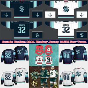 2021 Seattle Kraken Ice Hóquei Jersey 32th New Team Custom Mens Womens Youth Home Road Algum Nunber Qualquer Nome Todas as camisas de hóquei costuradas
