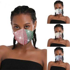 Womens Glitter Rhinestone Decor Black Face Mask Mouth Breathable Crystal Shiny Summer NightClub outdoor Dustproof Half Masks Wholesale