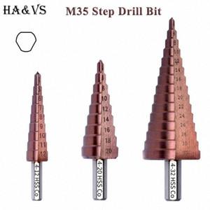 M35 5% Cobalt HSS Step Mèche HSS CO à haute vitesse en acier rainure droite Triangle Shank métal Forets Tool Set ujJS #