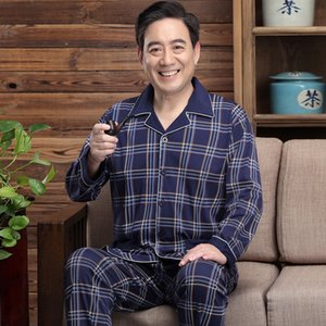 New autumn pajamas home clothes set long-sleeved cotton men's middle-aged and elderly dad winter extra men's home clothes set