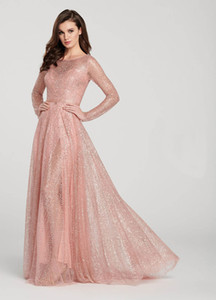 2020 Newest Glitter Sequins Pink A-line Women Prom Dress Bling Jewel Long Sleeves Evening Dress Ankle-length Party Dress Hot Sale