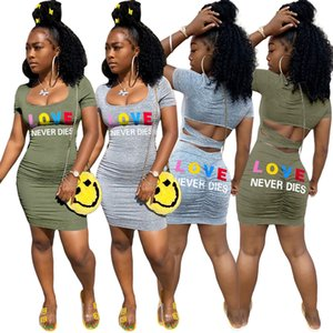 Women Hollow Out Crop two piece set Tracksuits cut out back tee tops bodycon skirts Suit Outfits Matching sexy sundresses party short dress