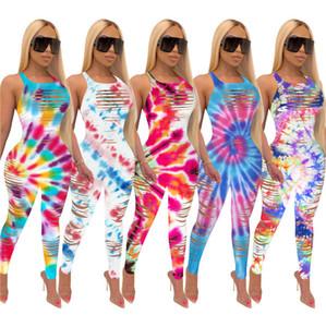 Plus Size Frauen Jumpsuits Tie-Dye Gradient-Farben-Sommer-Hohle-heraus Sleeveless Behälter-Weste-Strampler Dame Sexy Einteiliger Overall Kleidung D6406