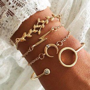 4 Pcs Set Fashion Circle Moon Leaf Open Gold Color Bracelet Set Women Beach Jewelry Bohemian Girl Bracelet Wholesale