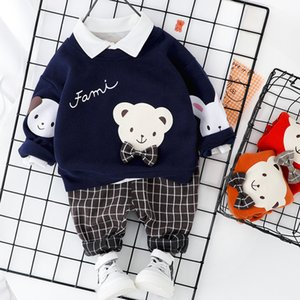 Spring Children Cartoon Outfit Small Bear Pattern Hoodie+Plaid Pants 2pcs Baby Boy Set Pullover Casual Sports Kids Suit 1-4 Year