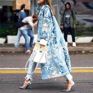 Sonbahar Bayan Çiçek Desen Baskılı Ceket Uzun Karışımları Coats Kadın Zarif Vintage Uzun Kollu Parti Kadın Coats Kış 2020