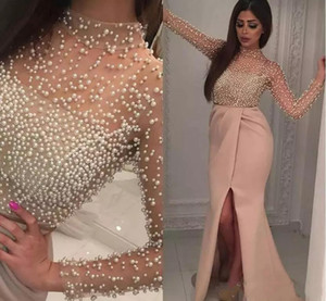 Blush Pink High Neck Split Evening Dresses Long Sleeve Luxury Pearls Beaded Middle East Arabic Yousef Aljasmi Prom Dresses Party Gowns