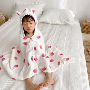 Adorable Cartoon Strawberry Peach Blanket Sweet Fruit Printing Children Multifunctional Cape Style Hooded Swaddle Bath Towel