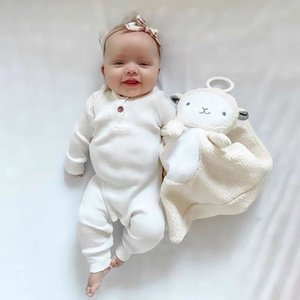 Baby Girls Boys Solid Ribbed Romper Long Sleeve Jumpsuit Cotton Infant Newborn Baby Clothes Outfits