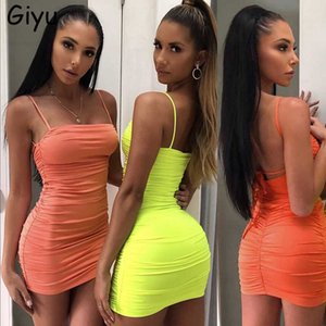 Giyu Sexy Bandage Neon Dress Women Clothes 2020 Summer Spaghrtti Strap Mini Club Party Dresses Bodycon Ruched Backless Vestidos