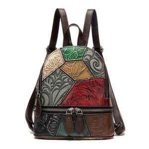 ABER 020 New couro genuíno geométrico retro Embossing Shoulder Bag Mulheres Mini Mochila Pequeno (Matching cor aleatória)