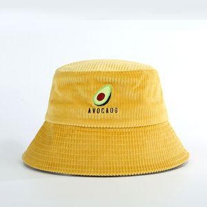 Bucket Cap Pescador sombrero mujeres otoño e invierno japonés aguacate salvaje pana de ala sombrero grande Viajes Sun Sombreros Del Cubo de alta calidad