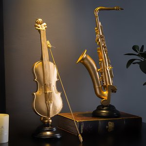 Modern Home Decoration Violin Figurines Sax Statuettes Accessories Desk Office Decor Resin Musical Instrument Model Decorative T200703
