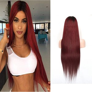 Peruvian 100% Human Hair 1B 99J Straight Virgin Hair 1b 99j Double Ombre Color 13X4 Lace Front Wig 10-30inch Lace Wigs