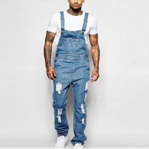 Verkauf Mode Herren Riss Pocket Jeans Overalls Denim BIB Hip Hop Overall High Gerade Denim Street Overalls Streetwear