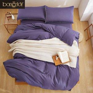 Bonenjoy Grey Purple Bedding Set King Size Cotton Blend Bed Sheet Set Single Quilt Cover Double Size Solid Color Plain Bed linen