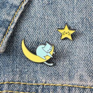 الأصفر القمر ستار لطيف الصغيرة مضحك المينا دبابيس دبابيس للمرأة ده مين قميص ديكور بروش دبوس معدني KAWAII شارة الأزياء والمجوهرات
