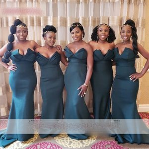Dark Green Mermaid African Bridesmaid Dresses Sweetheart Off The Shoulder Long Satin Wedding Party Gowns Cheap Dress