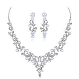 New Bridal Jewelry Set Wedding Accessories Necklace Earrings With Pearls Rhinestone Bidal Fashion Jewelry Sets BW-CA182