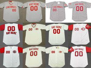 mens personalizzati throwback Cincinnati Brandon Phillips Johnny Bench Barry Larkin Pete Rose CHICO RUIZ Chris Sabo baseball Jersey cucito S-5XL